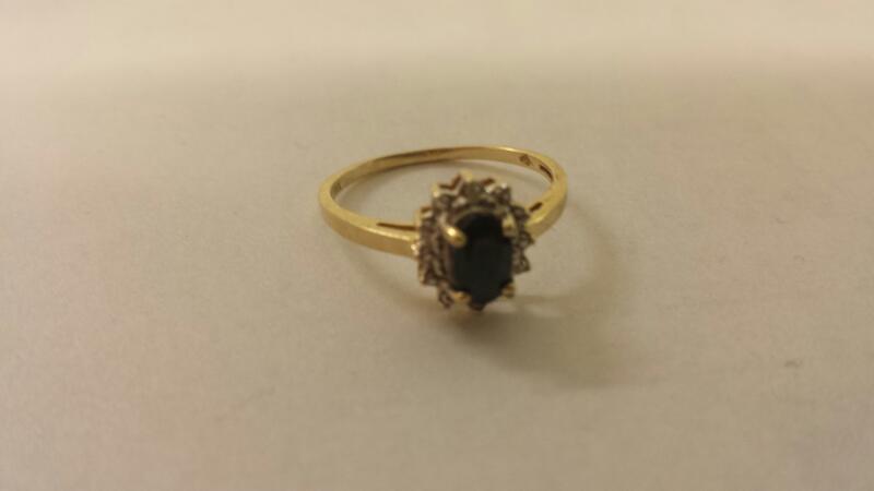 Lds 10K-YG Blue Stone And Diamond Ring