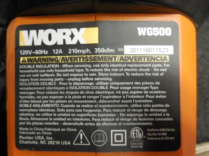 WORX WG500 TRIVAC BLOWER/MULCHER/VAC COMPACT **MISSING BAG**