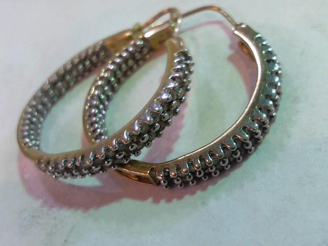 Gold-Diamond Earrings 67 Diamonds .335 Carat T.W. 10K Yellow Gold 5.3g