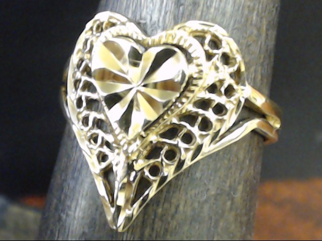 FILIGREE HEART RING REAL 14K GOLD LOVE PROMISE VALENTINE SIZE 6.25