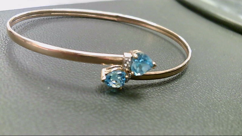 Synthetic Blue Topaz Gold-Stone Bracelet 10K Yellow Gold 3.5g