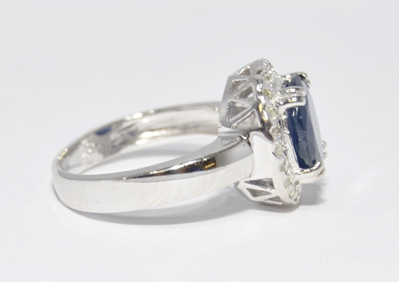 14K White Gold Basket Set Oval Sapphire & Diamond Halo Ring sz 6.5