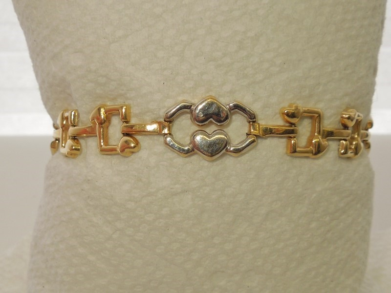 Gold Fashion Bracelet 14K 2 Tone Gold 7.4g