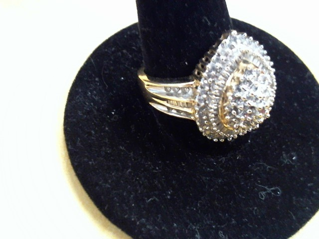 Lady's Diamond Cluster Ring 35 Diamonds .35 Carat T.W. 10K Yellow Gold 4.7g