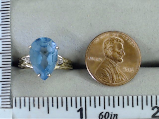 ESTATE PEAR CUT BLUE TOPAZ DIAMOND RING SOLID REAL 14K GOLD SIZE 7