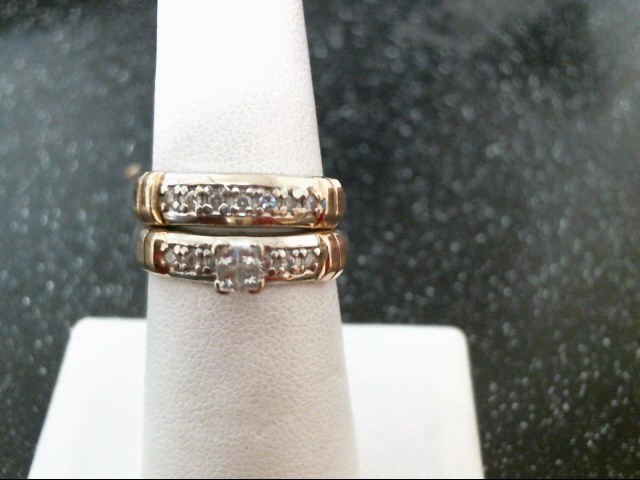 Lady's Diamond Wedding Set 17 Diamonds .38 Carat T.W. 14K 2 Tone Gold 6.7g