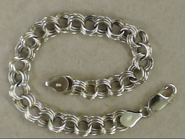 ESTATE TRIPLE CURB LINK CLASSIC CHARM BRACELET REAL 10K GOLD 9.7g 7""