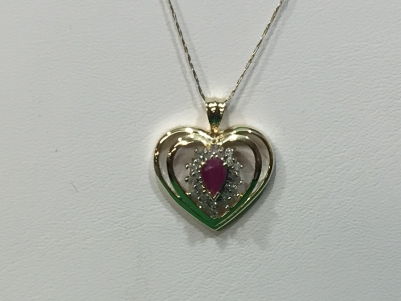 Ruby Heart Pendant Necklace 23 Diamonds .23 Carat T.W.