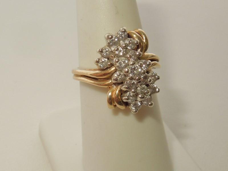 Lady's Diamond Cluster Ring 19 Diamonds .72 Carat T.W. 14K Yellow Gold 8.2g