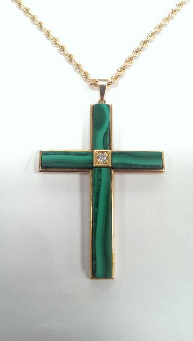 Malachite & Diamond Cross Pendant w/ 18k Necklace