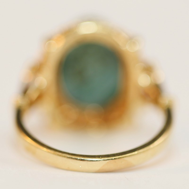 Vintage Cabochon Cut Turquoise Stone Ring Size 6.25