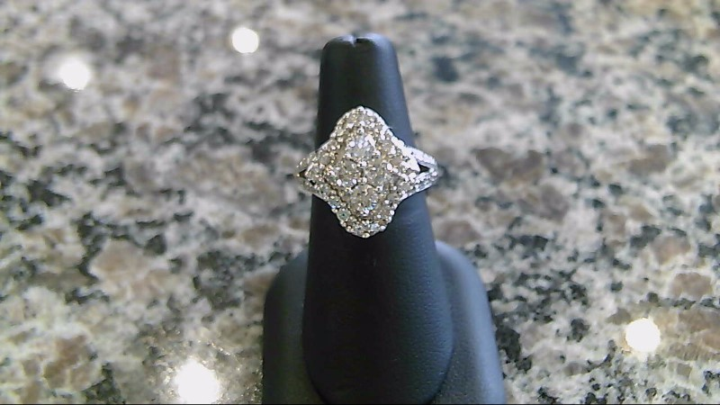 Lady's Diamond Cluster Ring 42 Diamonds 1.06 Carat T.W. 14K White Gold 9.4g