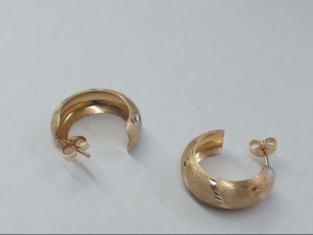 "ESTATE HOOP EARRINGS SOLID 14K YELLOW GOLD SMALL 1.75"" BRUSHED 6mm"