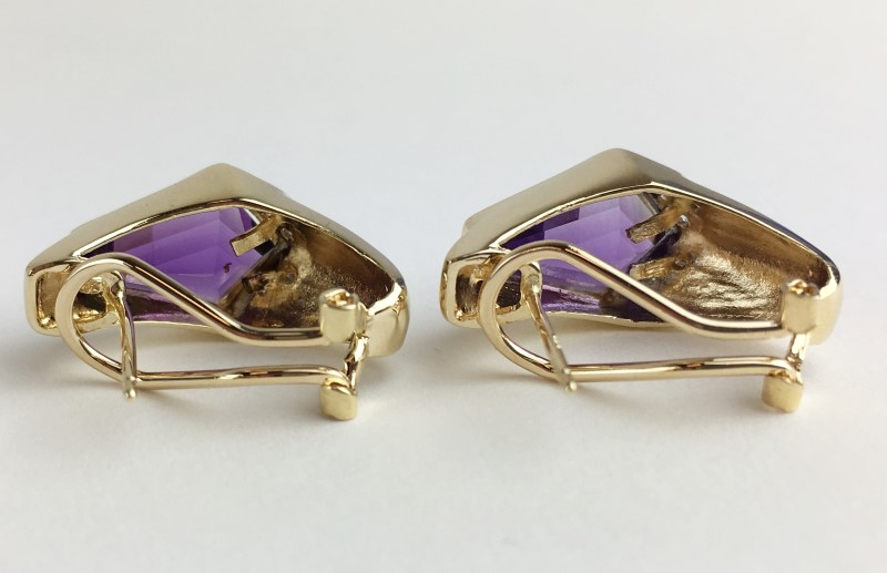 14K AMETHYST & DIAMOND EARRINGS APX .16CTW 7.08G