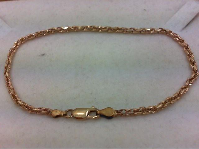 Gold Rope Bracelet 14K Yellow Gold 6.7g