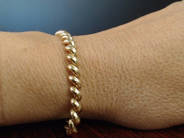 VINTAGE SAN MARCO BRACELET REAL 14K YELLOW GOLD ITALY 10.4g 5.2mm 7""