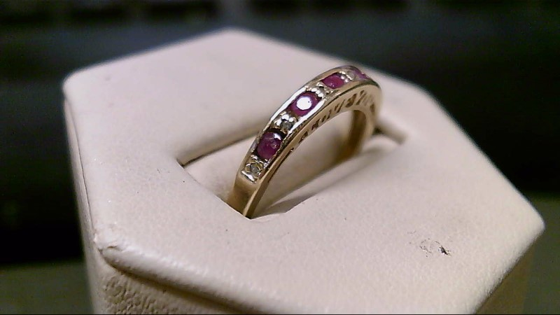 Ruby Lady's Stone & Diamond Ring 6 Diamonds .030 Carat T.W. 10K Yellow Gold