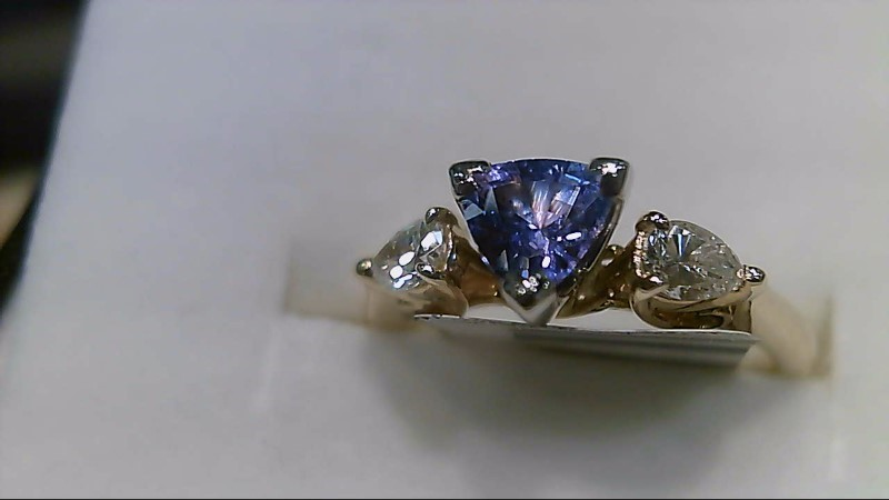 Tanzanite Lady's Stone & Diamond Ring 2 Diamonds .30 Carat T.W. 18K Yellow Gold