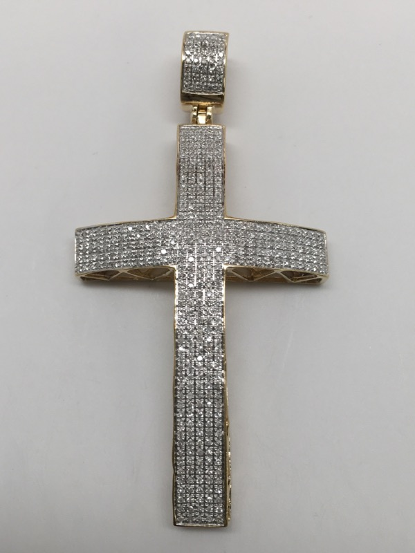 PAVE DIAMOND CROSS 10K YELLOW GOLD
