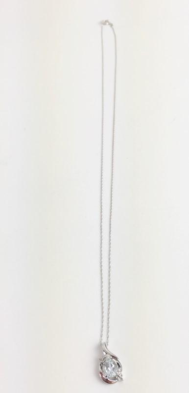 "Blue Topaz & Diamond Pendant with 18"" Chain 10K WG"