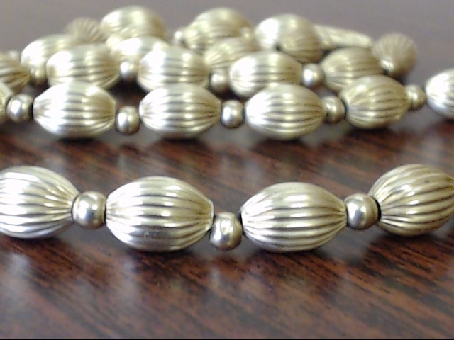 """VINTAGE REAL 14K GOLD BEAD NECKLACE OVAL RIB CORRUGATED HOLLOW 16"""""""