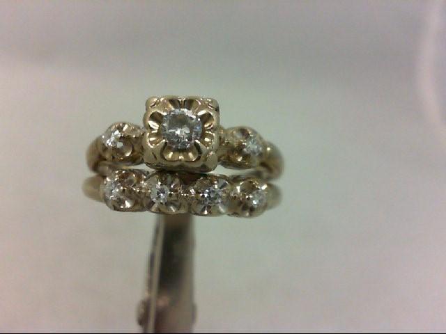 Lady's Diamond Wedding Set 7 Diamonds .16 Carat T.W. 14K White Gold 4.8g
