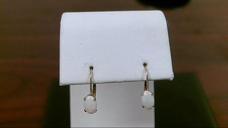 lady's 10k yellow gold oval lever back opal earrings