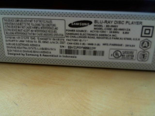 SAMSUNG DVD Player BD-HM51