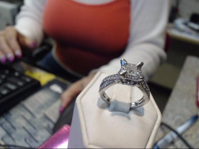 Lady's Diamond Engagement Ring 37 Diamonds 1.28 Carat T.W. 14K White Gold