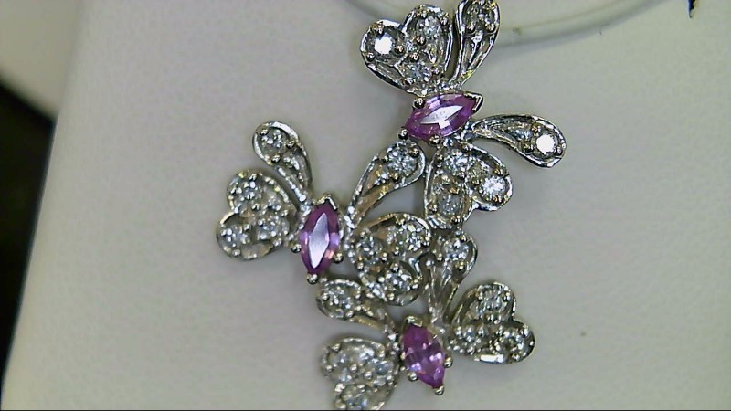 New Pink Sapphire and Diamond White Gold Pendant 0.33 CT