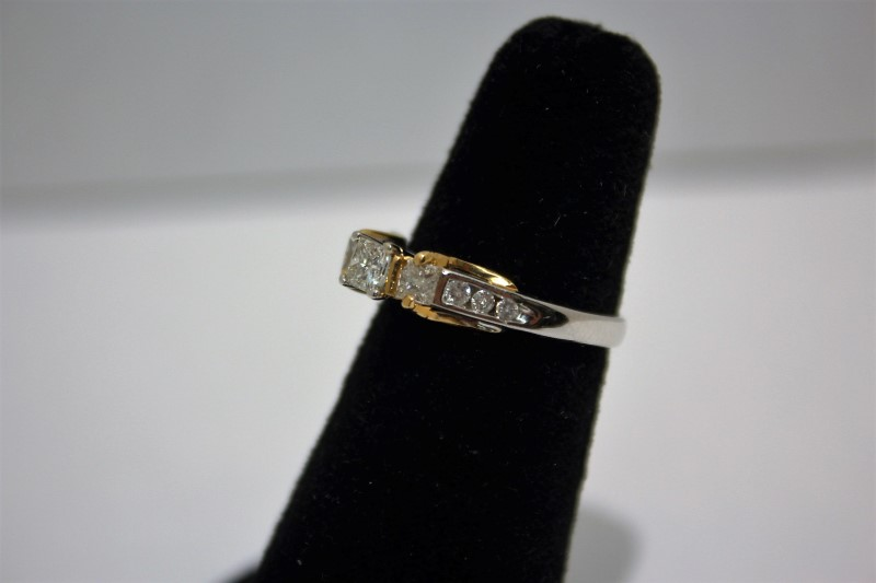 Lady's Diamond Engagement Ring 9 Diamonds .71 Carat T.W. 14K 2 Tone Gold 4g