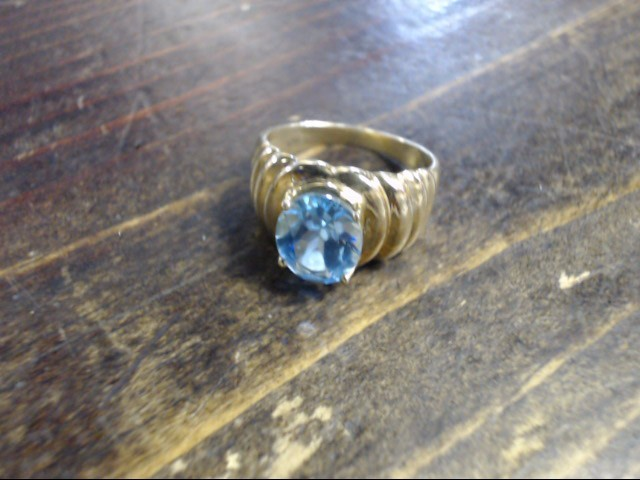 Blue Stone Lady's Stone Ring 10K Yellow Gold 3.6g Size:7.5