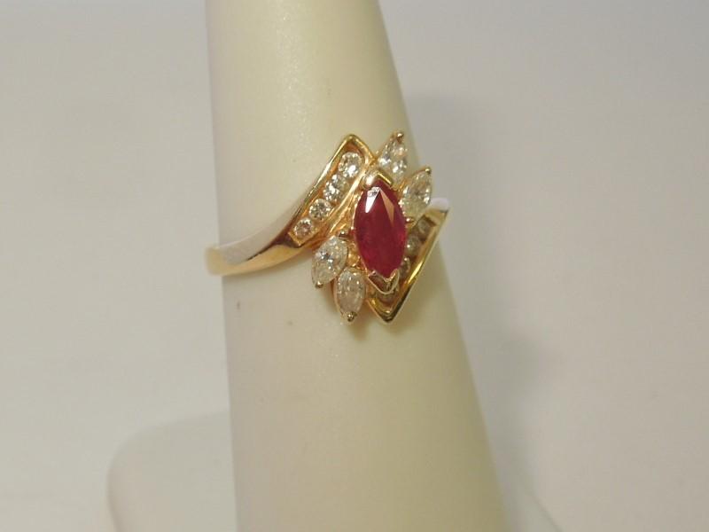 Synthetic Ruby Lady's Stone & Diamond Ring 12 Diamonds .36 Carat T.W.