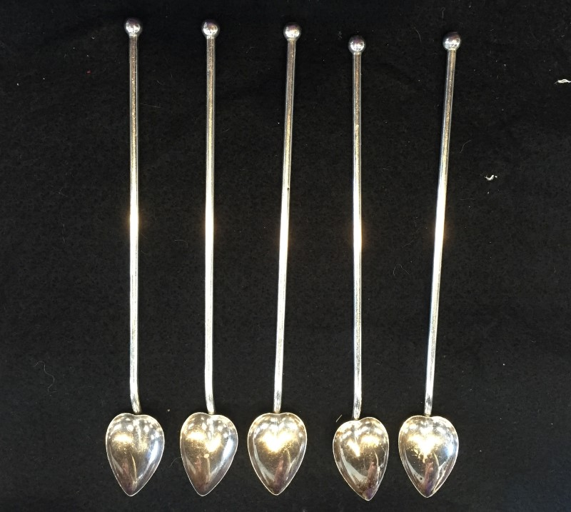 5 STERLING STRAW SPOONS