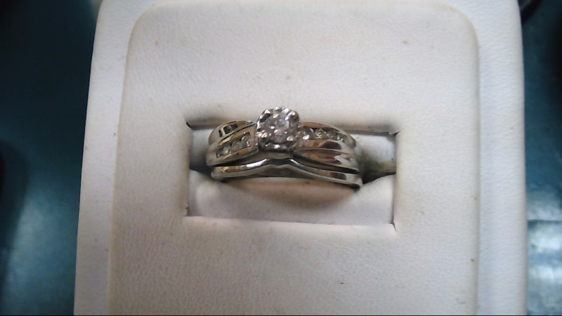 Lady's Diamond Wedding Set 9 Diamonds .39 Carat T.W. 14K White Gold 4.4g