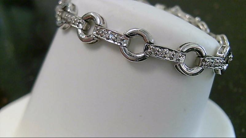 "6"" Inch Round Brilliant Cut Diamond O Link 14k White Gold Bracelet"