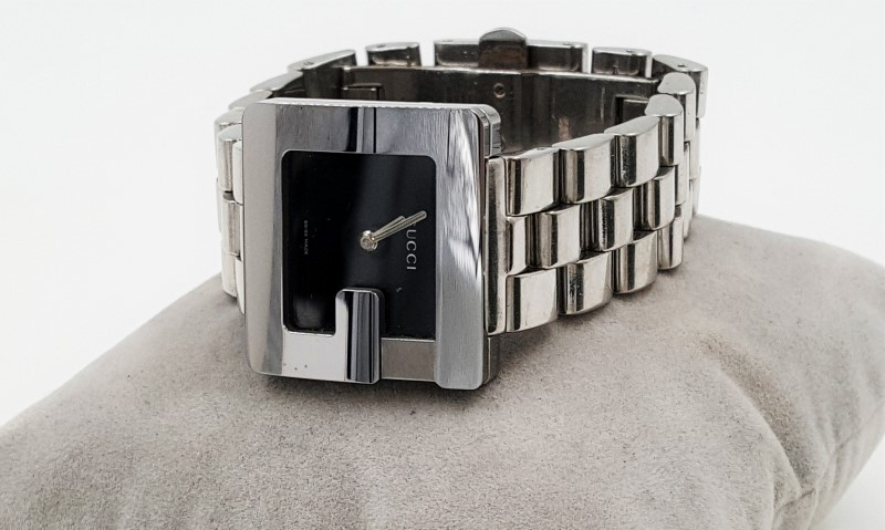 AS-IS Gucci Watch 3600J Stainless Steel Silver/Black Lady's G Series