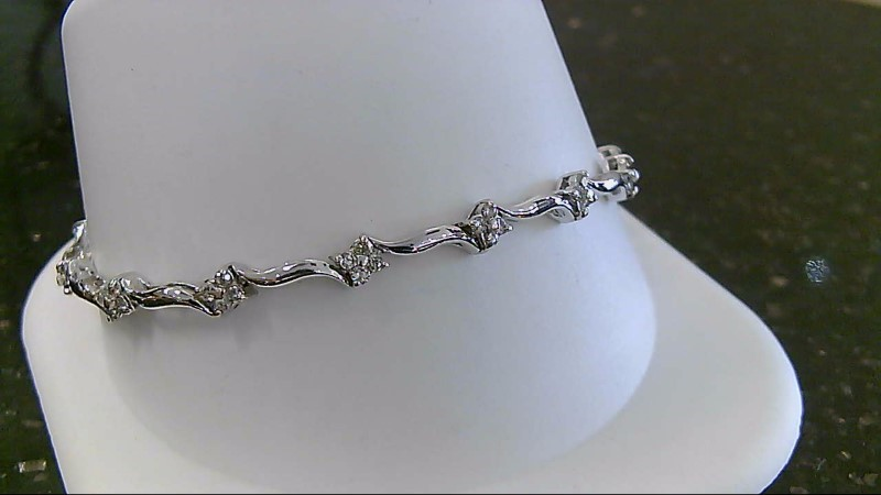 "6"" Inch Round Brilliant Cut 14K White Gold Floral Bracelet WG"