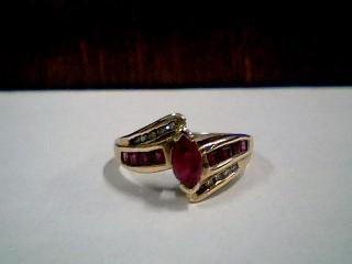 Synthetic Ruby Lady's Stone & Diamond Ring 10 Diamonds .10 Carat T.W.