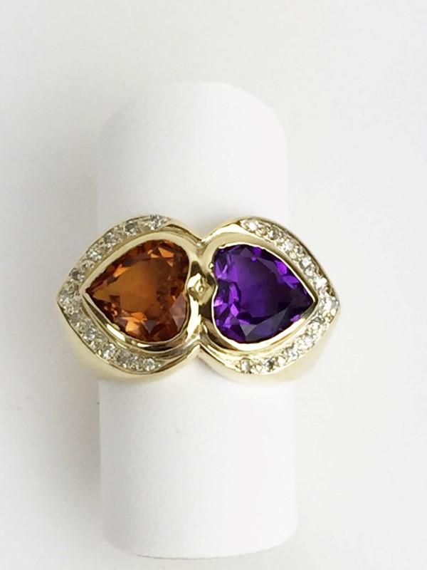 Amethyst Citrine & Diamond Ring 26 Diamonds .26 Carat T.W. 14K Yellow Gold