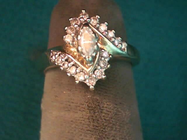 Lady's Diamond Cluster Ring 15 Diamonds .21 Carat T.W. 10K Yellow Gold 2.8dwt