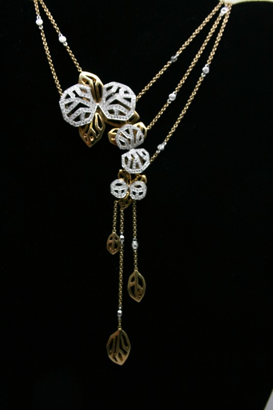 FASHION STYLE DIAMOND NECKLACE 18K YELLOW GOLD