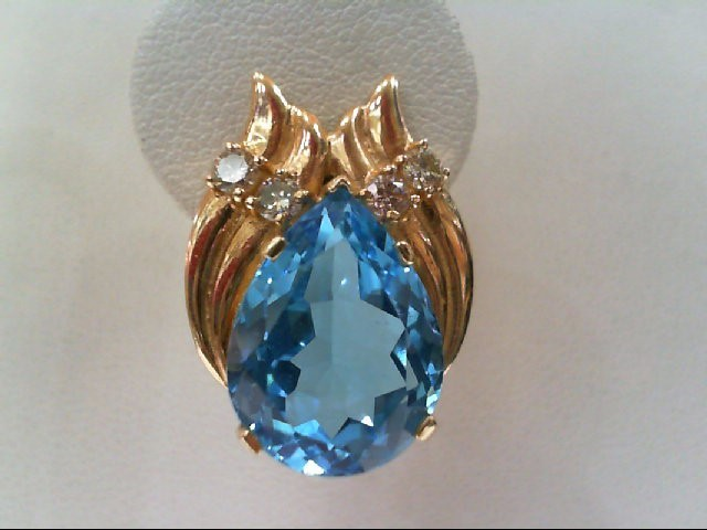 Blue Topaz Gold-Diamond & Stone Earrings 8 Diamonds .56 Carat T.W.