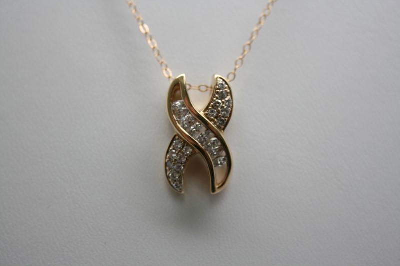 FASHION STYLE DIAMOND PENDANT 14K YELLOW GOLD