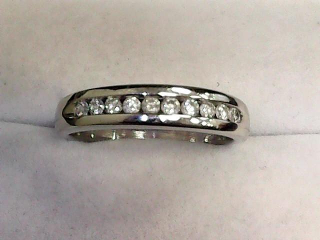 Gent's Gold-Diamond Wedding Band 10 Diamonds .30 Carat T.W. 10K White Gold