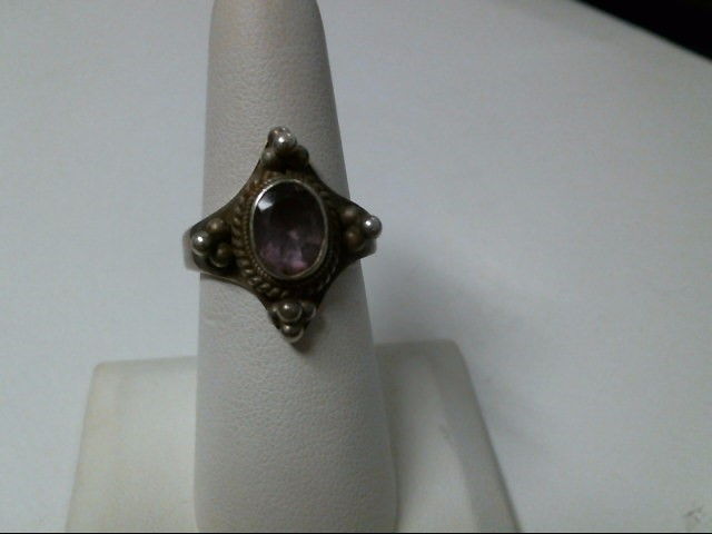 Purple Stone Lady's Silver & Stone Ring 925 Silver 6.3g Size:8