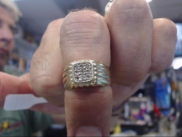 Gent's Diamond Cluster Ring 9 Diamonds .27 Carat T.W. 14K Yellow Gold 3.5dwt