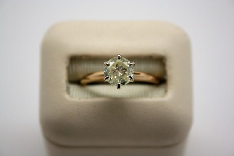 DIAMOND Lady's Diamond Solitaire Ring 1.13 CT. 14K Yellow Gold 2.4g Size:6.5