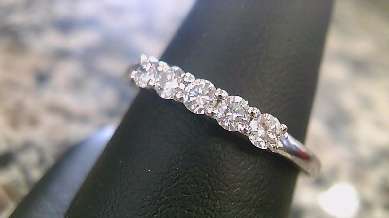 Lady's Diamond Fashion Ring 5 Diamonds .50 Carat T.W. 18K White Gold 3.8g