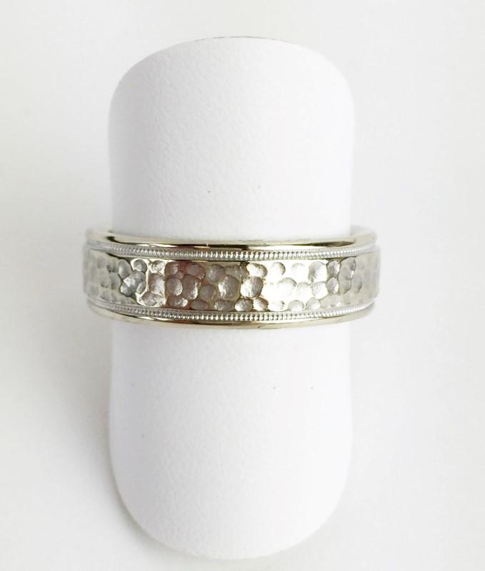 Wedding Band Pounded 14K White Gold 10.9g Size:11